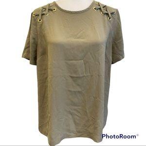 Michael Kors Army Green Short Sleeve Blouse Sz L